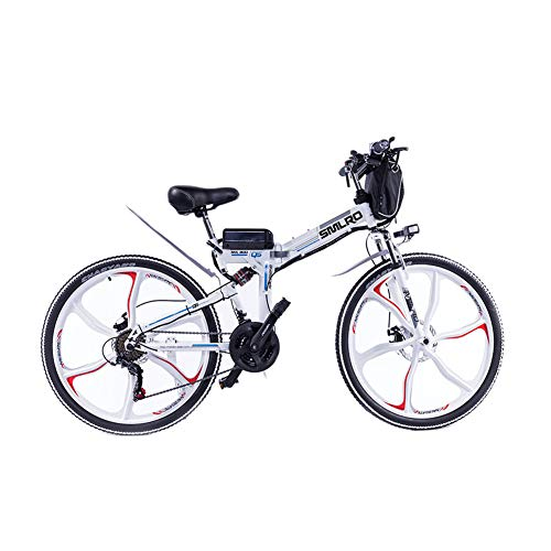 26 in Folding Electric Bikes, 48V/10A/350W Double Disc Brake Full Suspension Bicycle Boost Mountain Cycling,White