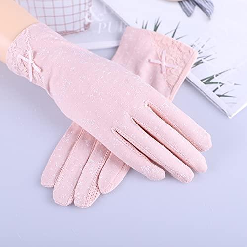 Guantes de conducción de Verano para Mujer con Flores a la Moda, Guantes Antideslizantes con Pantalla táctil UV, Guantes de algodón Transpirables para Mujer-7020N Pink-One Size