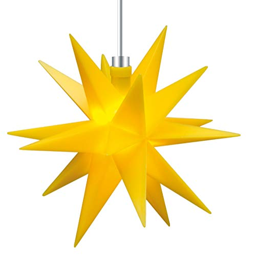 3D LED Stern gelb Ø 12 cm Weihnachtsstern Ministern Stern klein Leuchtstern Fenster Deko für innen 5m Kabel von Dekowelt (Gelb)