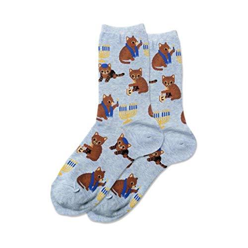 Hotsox Women's Hanukkah Cat Socks 1 Pair, Blue Heather, Women's 4-10 Shoe