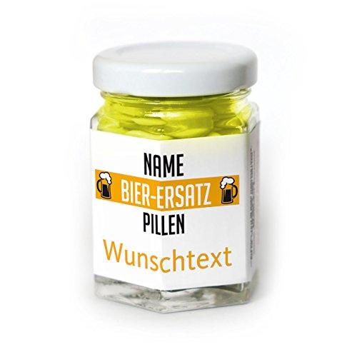 Lustapotheke® Bier-Ersatz Pillen 45g Traubenzuckerlinsen mit Namen und Wunschtext als Scherzgeschenk (Traubenzuckerlinsen)