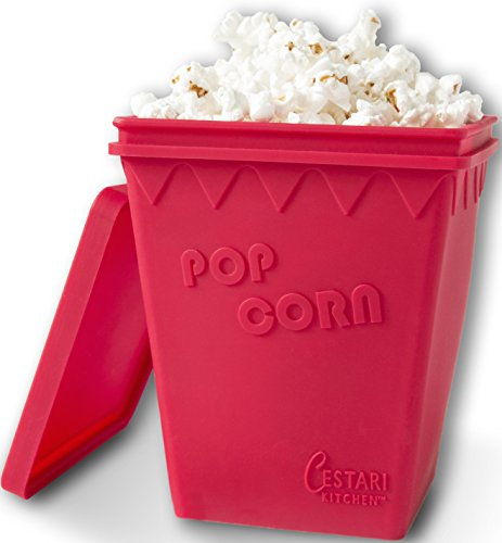 Microwave Popcorn Popper | Replaces Microwave Popcorn Bags | Enjoy Healthy Air Popped Popcorn - No Oil Needed | BPA Free Premium European Grade Silicone Popcorn Maker by Cestari Kitchen (Makes 8 Cups)