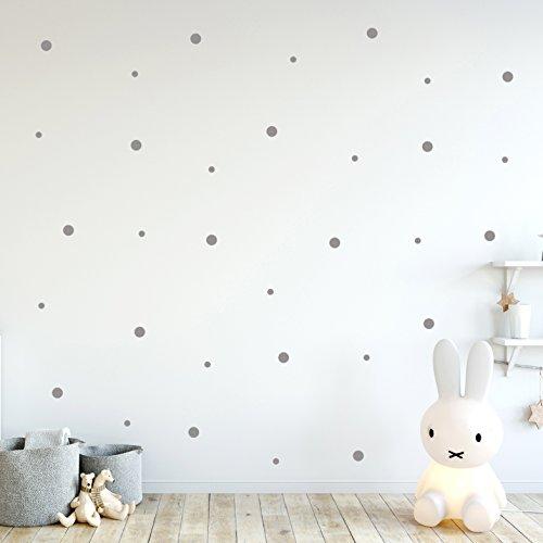 ilka parey wandtattoo-welt Wandtattoo Punkte Set groß und klein Aufkleber Wanddeko Wandgestaltung insg. 137 Stück in grau M2246