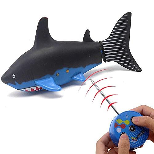 YUMOYA Tiburón de control remoto submarino, RC submarino radio control remoto barco buceo barco electrónico impermeable juguete adecuado para piscina peces tanque Navidad regalos cumpleaños
