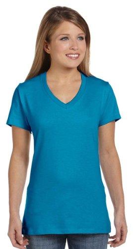 Hanes Women's Nano-T V-Neck T-Shirt, Teal, S