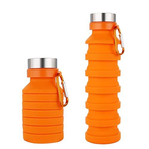 シリコン ボトル 折りたたみ 伸縮型 水筒 550ml 全4色 冷凍できる ポータブル コンパクト 携帯 軽量 ソフト ボトル マイボトル ウォーターボトル 登山 キャンプ アウトドア おしゃれ (オレンジ)
