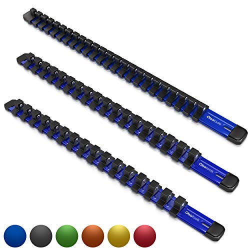 Olsa Tools 1/2-Inch, 3/8-Inch & 1/4-Inch Drive Aluminum Socket Organizer   Professional Quality Socket Holder (Blue)