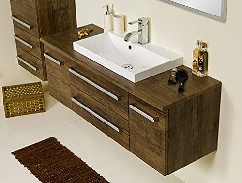 Quentis Badmöbel Susan, Breite 120 cm, Holzdekor antik, Waschbecken, Abdeckplatte mit Unterschrank, 2 Schubladen, Softeinzug, Waschbeckenunterschrank montiert