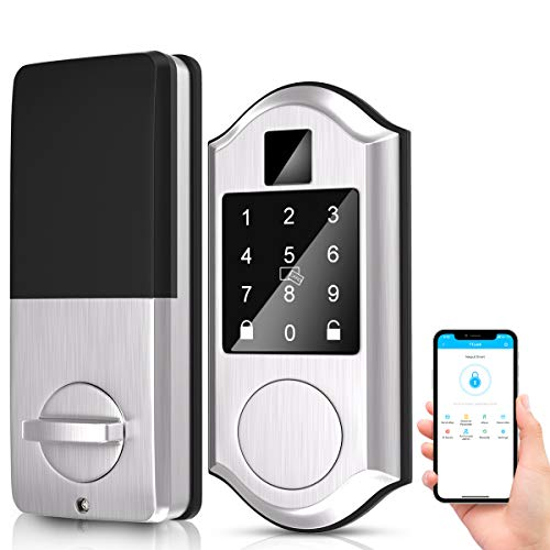 Narpult Keyless Smart Door Lock, Electronic Smart Deadbolt Locks, Keypad Lock Featuring Auto-Lock, Works with Alexa. - No Fingerpint, Satin Nickel Silver