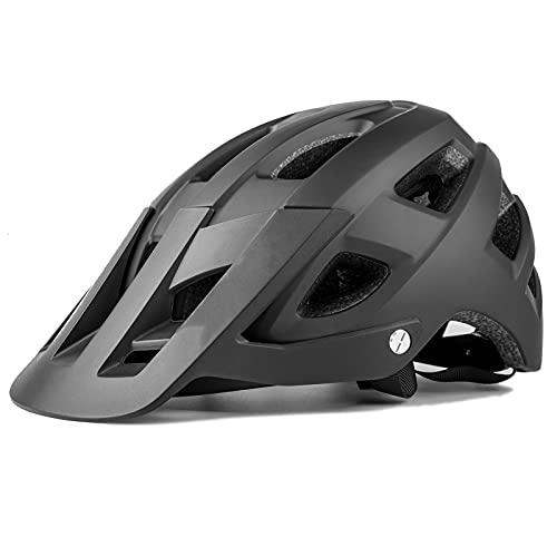 G&F Adulto Casco Bicicleta Ciclismo por Mujeres y Hombres Casco MTB con Visera Desmontable Ajustable Ligero 54-62cm (Color : Black, Size : 54-58)