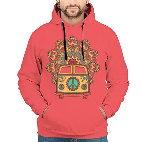 Dofeely Peace and Love Car Mandala Flower 3D print mannen hoodie lange mouwen persoonlijkheid sport pullover capuchon jas met zakken S-5XL beste gift voor kinderen