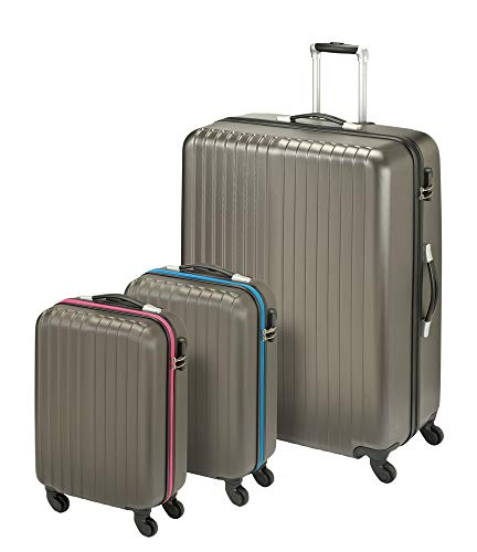 Princess Traveller San Marino 3-in-1 Luggage set kofferset, 82 cm, 198 liter, antraciet