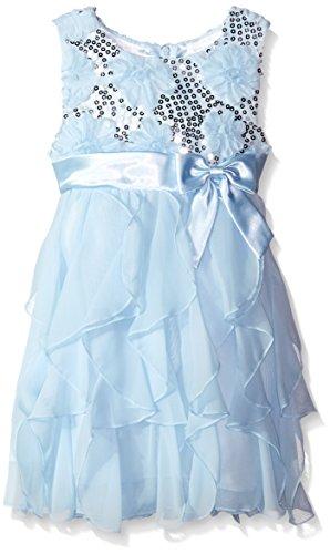 American Princess Little Girls' Sequin Corkscrew Dress, Ice Blue, 4