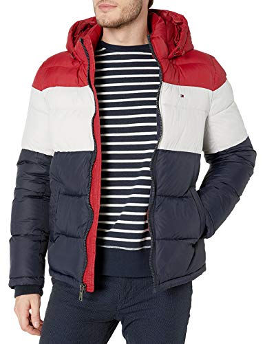 Tommy Hilfiger Men's Classic Hooded Puffer Jacket (Standard and Big & Tall), red/white/midnight, X-Large