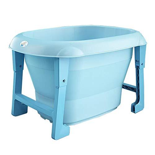 DALL Baby Badewanne Verdicken Faltbar Tragbar Kinderbadewanne Großer Raum Rutschfestes Design(Color:Blau)
