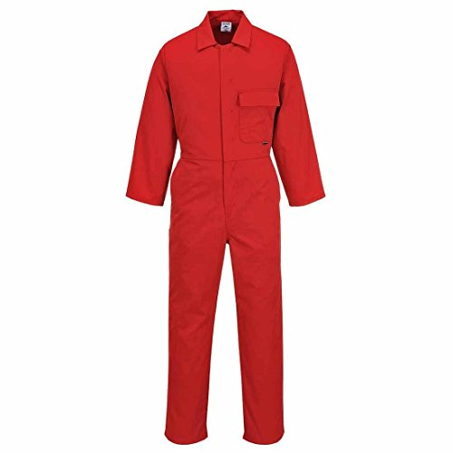 Portwest C802 - boilersuit estándar, color rojo, talla Small