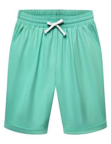 DRESSTELLS Women's Casual Bermuda Elastic Waist Pocketed Walking Shorts with Drawstring Tiffany Blue L