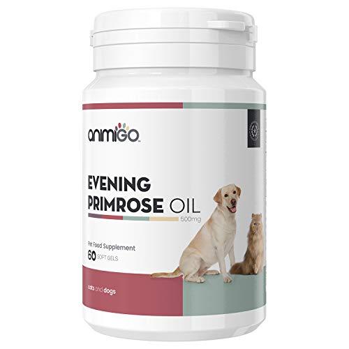 Animigo Aceite de Onagra para Perros y Gatos | Suplemento de Onagra en Cápsulas | con Ácido Linoleico (LA) y Gamma (GLA) | para Piel, Pelaje, Balance Hormonal, Huesos y Articulaciones | 60 Cápsulas