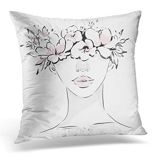 Awowee Funda de cojín de 45 x 45 cm, diseño de cara de niña joven con corona de flores de primavera, tinta negra y blanca, rosa, diseño de acuarela para decoración del hogar, funda de cojín para sofá y cama