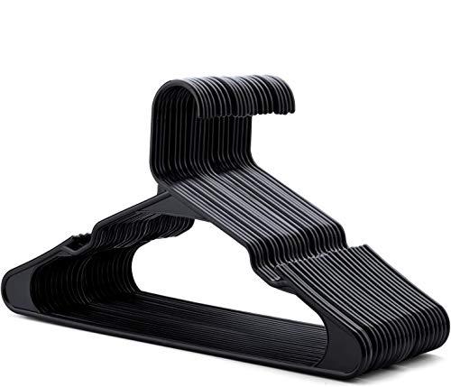 HOUSE DAY Perchero Plástico Negro Que Ahorra Espacio 50 Piezas Perchas de Plástico D0.6cm L42cm