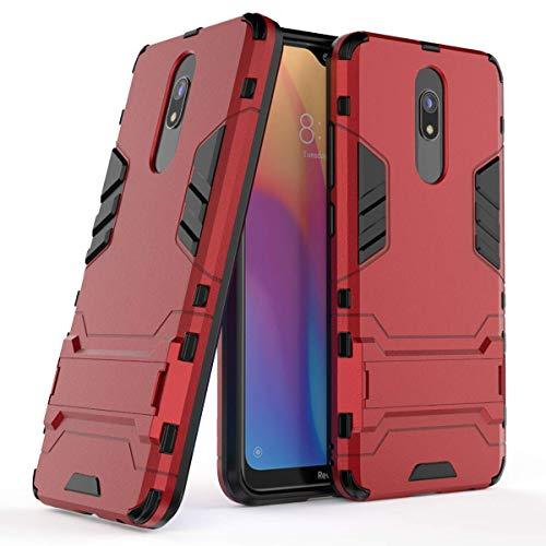 MPD Hülle für Xiaomi Redmi 8 / Redmi 8A Standfunktion Handyhülle Stoßfeste Schutzhülle Bumper Hülle Cover Outdoor Hart Hardcase Shock Absorption mit Ständer (Xiaomi Redmi 8 / Redmi 8A, Rot)
