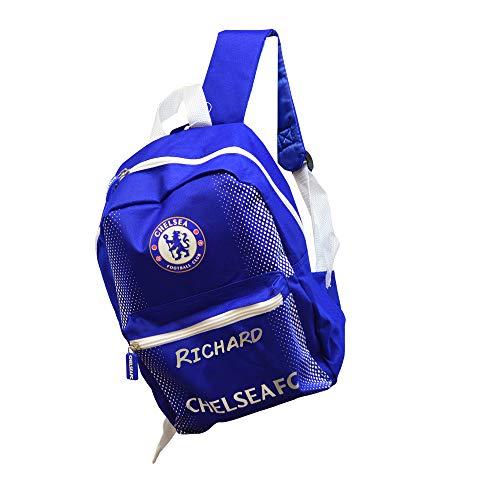 Personalised Chelsea Backpack Football Boys School Bag Soccer Gym/Junior Toddler/Printed/Zip/Rucksack Stadium/Small/22 x 11 x 30 Centimetre