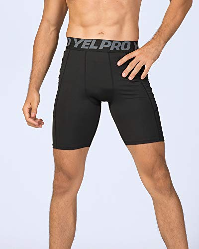 Compression Shorts Mens Gym Running Short Tights Base Layer Breathable Fitness Workout Shorts with Pocket