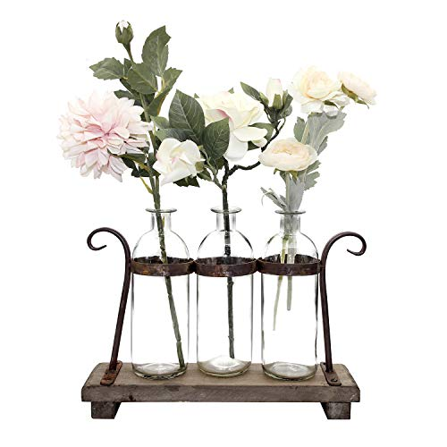 FUNSOBA Rustic Flower Vase Set with Rack Stand