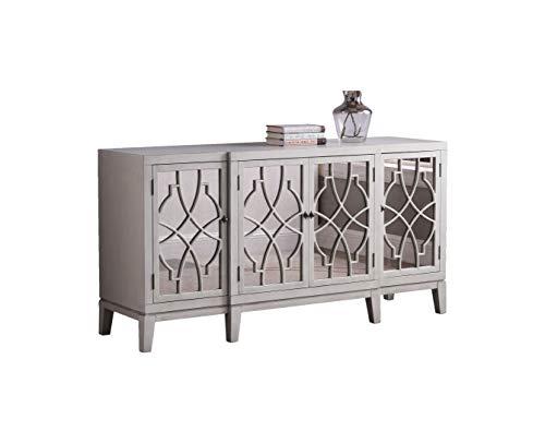 Best Master Furniture Tiffany Cottage Style Mirrored Sideboard, Antique Beige