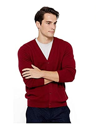 State Cashmere Men's Button Front Cardigan 100% Pure Cashmere Long Sleeve V-Neck Sweater (Large, Burgundy) by State Cashmere