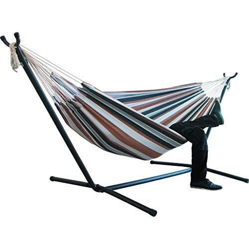 Portable Hammock Bed, Tloowy Double Hammock Swing Bed Without Steel Stand +Portable Carrying Case for Backpacking, Travel, Beach, Yard, Patio, Outdoor, Max Weight: 450lb (Coffee)
