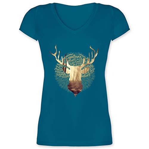 Oktoberfest & Wiesn Damen - Hirsch - XXL - Türkis - Trachtenmode Damen - XO1525 - Damen T-Shirt mit V-Ausschnitt