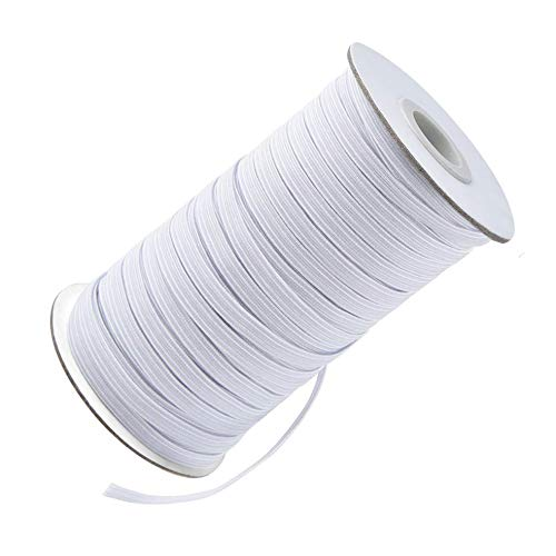 Juss Life New Premium 1/4 Inch Elastic String for Sewing - 100 Yards Soft White Braided Elastic Cord for Crafts and DIY