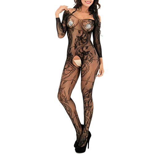 Íntimos para Mujeres, Mujeres/Sissy Lingerie Babydoll Underwear Body Stocking Talla única, Conjunto de lencería de Ropa Interior (Negro tamaño Libre)