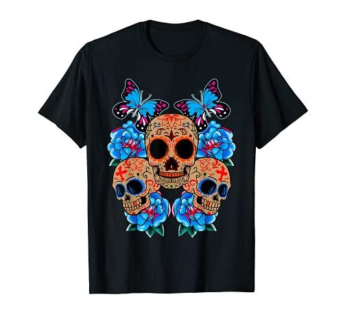 Sugar Skull Blumen Day Of The Dead Dia Muertos Tee Geschenk T-Shirt