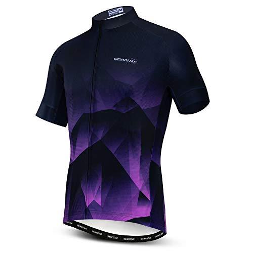Mens Cycling Jersey Short Sleeves Mountain Bike Shirt MTB Top Zipper Pocket Reflective Purple