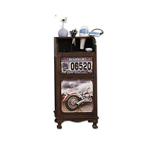 Zzyq Vintage-Massivholz Friseursalon Werkzeugschrank Schublade Schrank Multifunktionswerkzeugwagen,B
