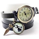 Handarbeit mehrgliederige Lederuhr cabochon- schwartz Uhr- Mary Poppins - Weihnachtsgeschenk für Frauen - Valentinstag (ref.95) FBA