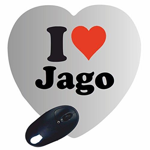 EXCLUSIVO: Corazón Tapete de ratón 'I Love Jago' , una gran idea para un regalo para sus socios, colegas y muchos más!- regalo de Pascua, Pascua, ratón, Palmrest, antideslizante, juegos de jugador, cojín, Windows, Mac OS, Linux, ordenador, portátil, PC, oficina, tableta, Amo, Made in Germany.