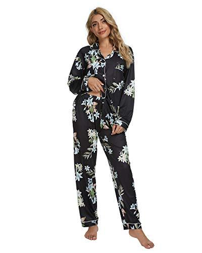 GOSO Pijama para Mujer - Pijama de Manga Larga con Botones para Mujer - Conjunto de Pijama de Manga Larga Floral para Mujer