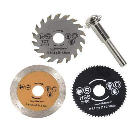 Yunnyp Circular Saw Blade,3pcs 54.8mm HSS Mini Wood Circular Saw Blade Cutting Blade Tool+Mandrel