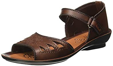 Walkaroo Women's Faux Leather Brown Fashion Sandals (W27117)