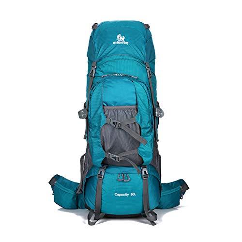 YoungMax 登山かばん 大容量 80L メンズ アウトドア スポーツ メンズ レディース 兼用 新モデル 登山リュック ザック 登山用バックパック 防災リュック バックパック軽量 丈夫で長持ち 収納性も抜群 (レイクブルー)