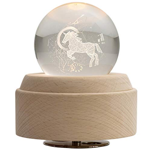 MQH Caja de música La Caja de música del Unicornio 3D Luminosa giratoria de la Bola cristalina de la Caja Musical con luz LED y de Madera de Base Mejor for el cumpleaños de Navidad Caja Musical