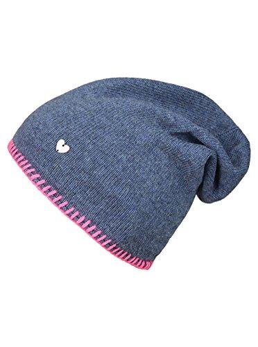 Cashmere Dreams Slouch-Beanie-Mütze mit Kaschmir - Hochwertige Strickmütze für Damen Mädchen - Herz - Heckel-Rand - One Size - warm und weich im Sommer Herbst und Winter Zwillingsherz (blau/pin)