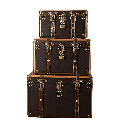 ChengBeautiful Decorative Storage Wooden Chest Trunk Retro Storage Box Suitcases Decoration Storage Box Photography Props Storage 3pcs (Color : COFFEE, Size