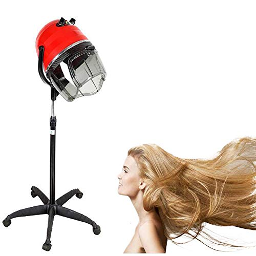 JYZ Casque Sèche Cheveux sur Pied Casque Sechoir Professionnel 1100W Hauteur Réglable pour Cheveux Traitement Coiffeur Spa Outils,Rouge