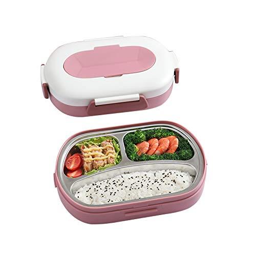 YUMEIGE Caja de almuerzo Caja dividida de almuerzo, portátil para estudiantes masculinos y femeninos, trabajadores de oficina, se puede llenar con agua para la conservación del calor, la caja de almue