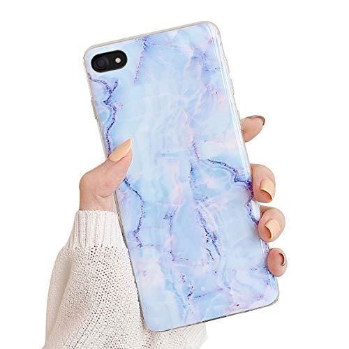 Oihxse Compatible pour Huawei Mate 20 Lite Coque Marbre Motif Stitching Crystal Ultra-Mince Protection Housse en Silicone TPU Souple Flexible Bumper Anti Choc Etui Case (Bleu)