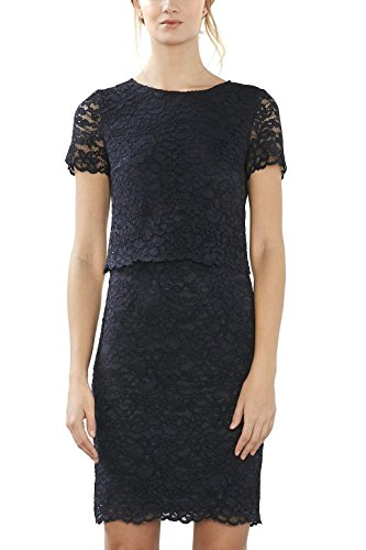 ESPRIT Collection Damen 017EO1E010 Kleid, Blau (Navy 400), 38